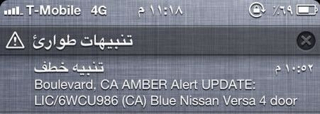 Amber Alert sms