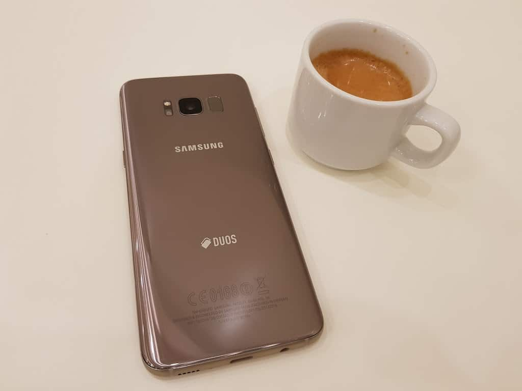 Galaxy S8 with coffee