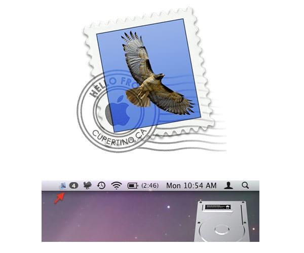 اضافة تظهر في الشريط العلوي و متصلة مع برنامج ميل الرسمي في الماك