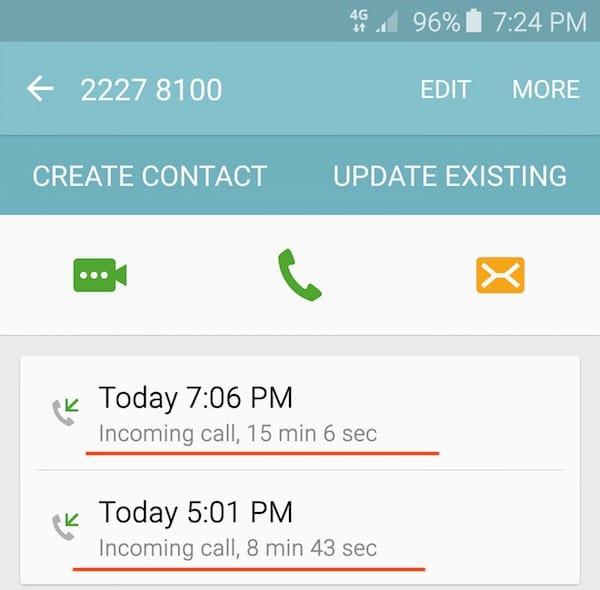incominig call