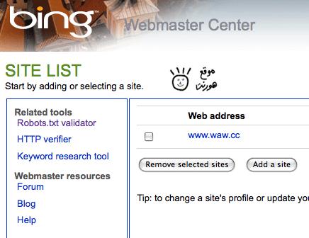 شكل الموقع وهو مضاف في محرك bing.com