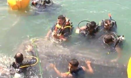 لحظة تعامل الغواصين مع الحوت